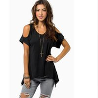 Wholesale Strapless Sleeved Shirt - 2018 Brand clothing summer V pure cotton short sleeved Strapless collar fishtail hem female women T-shirt Fast shipping