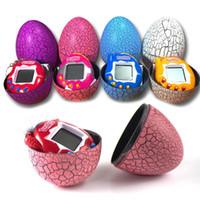 Wholesale dinosaur battery toy - Multi-colors Dinosaur egg Virtual Cyber Digital Pet Game Toy Tamagotchis Digital Electronic E-Pet Easter Egg Gift For Children