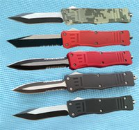Wholesale tactical combat survival gear online - A161 Combat D A Auto tactical gear knife C steel Two tone finish zinc alloy handle knife hunting Survival knives with sheath Q