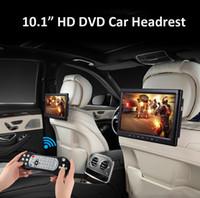 pantalla plateada al por mayor-2x10.1 pulgadas coche dvd reposacabezas soporte portátil para reproductor de coche HD Hdmi USB SD FM IR juego reposacabezas del coche titular negro
