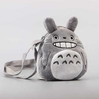 vecino totoro al por mayor-Bolsa de peluche de peluche de anime para niños Anime My Neighbour Totoro Bolsa de monedas de felpa Bolsa de mensajero pequeña para niños 17 * 20 cm