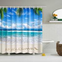 photos salle de bains achat en gros de-Rideau de douche en tissu Ensemble de salle de bain avec impression de la mer, série Sea Decor
