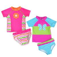traje de baño bordado al por mayor-Niñas bebés mariposa bordado traje de baño niños traje de baño nadar llevar bebé bañarse Dos piezas traje para las niñas