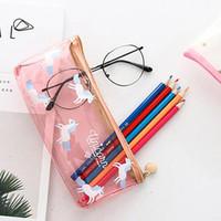 Wholesale 4 Styles Unicorn Pencil Bag Cartoon Pencil Cases Stationery Storage Bag School Office Supply Kids Gift Purse