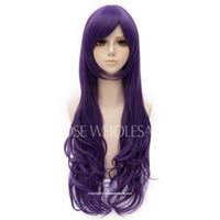 длинные волосы, слоистые парики оптовых-Очаровательный Фиолетовый Волнистый Длинный Слоистый Nozomi Tojo Косплей Парик Волос