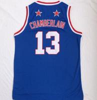 мужчины оптовых-2018 NEW MEN Harlem basketball team Уилт Чемберлен 13 синие баскетбольные майки рубашки топы, тренеры баскетбольные майки топы, баскетбол одежда