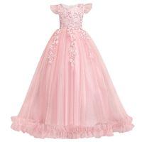 платья для принцессы с капюшоном для девочек оптовых-Принцесса цветочница платья бальные платья cap рукава аппликации день рождения рождественские платья для девочек свадебные платья гостей формальная одежда