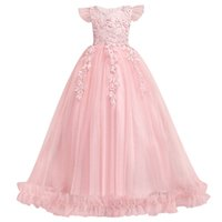 Wholesale kid girl party photo for sale - Group buy Princess Flower Girl Dresses Ball Gowns cap Sleeves Appliques Birthday Party christmas Dresses For Girl Wedding Guest Dress Formal Wear