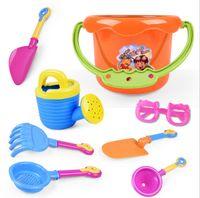 plaj seti oyuncakları toptan satış-Yaz sıcak çocuk plaj su oyuncakları yaratıcı güneş gözlüğü 9 takım plaj kova set toptan tezgahları