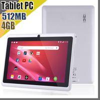 google android tablet inç toptan satış-E YENI 7 inç Kapasitif Allwinner A33 Dört Çekirdekli Android 4.4 çift kamera Tablet PC 4 GB 512 MB WiFi EPAD Youtube Facebook Google A-7PB