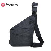 segeltuch-sling-taschen für männer großhandel-Unisex Anti-Theft Männlich Brusttasche Männer Versteckte Schulter Umhängetasche Lässig Retro Crossbody Coole Leinwand Motorradriemen