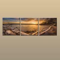 moderne lackierrahmen großhandel-Framed / Unframed Hot Zeitgenössische moderne Leinwand Wand Kunstdruck Malerei Beach Sunset Seascape Bild 3 Stück Wohnzimmer Home Decor ABC247