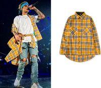gelbe plaidhemd männer großhandel-Bieber Gelb Plaid Shirts Für Männer Vorne Kurze Zurück Länge High Street Tide Kleidung Männliche Mode Shirts