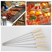 Wholesale skewers bbq for sale - Group buy Stainless Steel Barbecue Skewers Wooden Wood Handle Metal Roasting Needle Outdoor BBQ Tools Forks Camp Kitchen AAA388