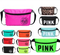 Wholesale fanny pack purse - Pink Letter Fanny Pack Love Pink Waist Bags Waterproof Nylon Beach Bag Women Purses Sports Handbags Outdoor Cosmetic Bags 3 Colors 2018 best