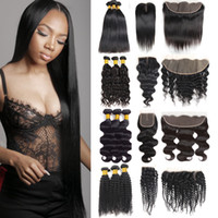 Wholesale unprocessed mongolian water wave closure for sale - Group buy Mink Brazilian Virgin Deep Wave Hair Bundles with Closure Unprocessed Straight Water Body Kinky Curly Human Hair Bundles with Lace Frontal