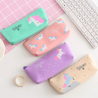 Wholesale Gift Bag Supplies - 4 Style Unicorn Canvas Pencil Bag Cartoon Pencil Cases Stationery Storage Organizer Bag School Office Supply Kids Gift