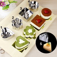 Wholesale Ring Cupcakes - Wholesale-5Pcs lot Mousse Cake Mold Different Shapes Stainless Steel Cupcake Mousse Ring Egg Molds Cookie Cutter Cake Decorating Tools