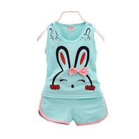 Wholesale baby boy vest 18 24 - Children Cotton Clothing Suits Cartoon Cute Bunny Baby Boys Girls Vest Short 2 Pcs sets 2018 Summer Kids Casual Outfit Tracksuit