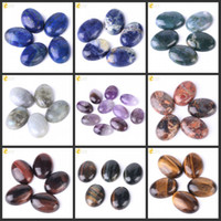 Wholesale lapis lazuli gem for sale - Group buy CSJA x25mm Gemstone Cabochon Natural Amethyst Tiger Eye Labradorite Lapis Lazuli Stone Loose Beads Men Women Charms Jewelry Gems PC T007