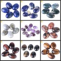 taşlar gevşek taşlar toptan satış-CSJA 18x25mm Taş Cabochon Doğal Ametist Kaplan Gözü Labradorit Lapis Lazuli Taş Gevşek Boncuk Erkekler Kadınlar Charms Takı Taşlar 1 ADET T007