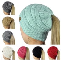 Wholesale Hair Holes - Designer Women Hair Bonnet CC Ponytail Caps CC Knitted Beanie Fashion Girls Winter Warm Hat Back Hole Pony Tail Autumn Sports Beanies