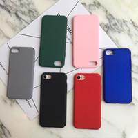 coque arrière iphone rose achat en gros de-Hard Matte PC Slim Case Pour iphone 8 7 6 6 S Plus 5 5S SE Givré En Plastique Couverture Arrière Noir Rouge Rose Vert