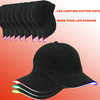 Wholesale hunting light bulbs - LED lighting Hats Unisex Luminous Bling Baseball Led Cap Easily Adjustable For Hunting, Jogging, Angling Outdoor Night sports & Parties