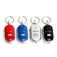 schlüssel anti verloren pfeife großhandel-LED Anti Verlorene Pfeife Schlüsselfinder Sensor Alarm Schlüssel Kette Locator Find Alarm Blinkende Tracker Piepton Fernschlüsselring AAA154