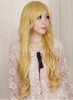peruca loira curly loira venda por atacado-Frete grátis +++++ Bleach Matsumoto Rangiku Moda Sexy Longa Loira Peruca Cosplay Encaracolado