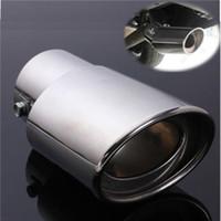 silenciadores de tubos de escape universais venda por atacado-DHL 50 PCS Carro Universal de Aço Inoxidável Cromo Serve Para Exaustor Cauda Silenciador Tubo de Carro Novo (Cor: Prata)
