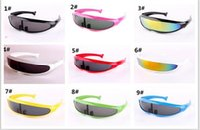 Wholesale neon glasses frames - 200pcs Futuristic Cyclops Neon Shield Color Mirror Lens Wrap Sunglasses 9 Colors Alien Glasses Fashion Driving Goggles J034