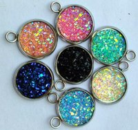 Wholesale images earrings resale online - 12mm Round Pattern Cabochons Mix colors Image druzy stone Cabochon For Earring necklace pendant