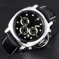 Wholesale luminous watches for men - AAA Top Brand Sport mens Luxury Watch 30m waterproof Luminous Stopwatch All Small Dials Work Leather Strap quartz Wrist watches for men gift