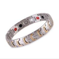 bio plata al por mayor-4 en 1 Bio Gold / Silver Healing Magnetic Stone Care Energía Salud Brazalete de acero inoxidable 316L Beneficios de germanio para hombres / mujer