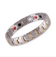 Wholesale health benefit for sale - Group buy 4 in Bio Gold Silver Healing Magnetic Stone Care Energy Health Bracelet L Stainless Steel Germanium Benefits For Men Woman