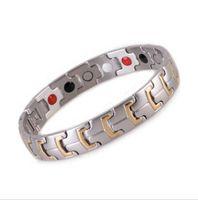 ingrosso bio argento-4 in 1 Bio oro / argento guarigione pietra magnetica cura energia salute bracciale in acciaio inossidabile 316L germanio benefici per uomo / donna