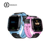 telefones celulares rosa venda por atacado-Azul Rosa inteligentes Relógios G21 crianças meninas meninos Smartwatch GPS inteligente relógio 2G Android Phone Relógio para crianças cedo presente inclinada