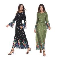 восток модная одежда оптовых-Ближнего Востока турецких мусульманских женщин труба рукав Абая платье арабский Исламский леди Одежда Дубай кафтан мода цветок печатных платье женщины