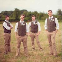 ingrosso vestiti di colore marrone-2018 abiti da sposo marrone economici abiti da uomo su misura per la sposa slim fit bazer groomsmen tuxedos