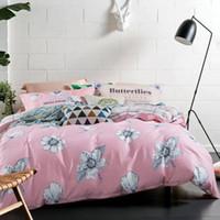 set de colcha rosa al por mayor-Juego de cama impresa 4 unids duvet cover queen / king bedsheet Pink edredón cubierta textiles para el hogar venta caliente