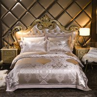 Wholesale bedding sets silk satin purple online - Luxury Silver golden jacquard silk satin bed set bedding sets queen king size bed sheet set bed set bed linen pillowcases