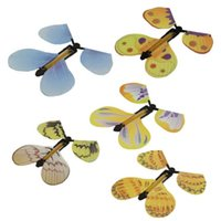 Wholesale paper butterfly toy - Magic Flying Butterfly Rubber Band Powered Wind Up Novelty Toys Great Wedding And Birthday Gifts