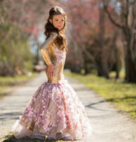 Wholesale Girls 14 Years Dress - Newest 2018 Girls Pageant Dresses Gold Sequins Hand Made Flowers Long Sleeves Kids Mermaid Formal Prom Gowns For New Year