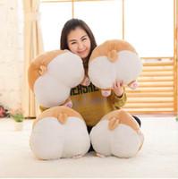 popo şeklinde oyuncaklar toptan satış-Sıcak Satış Corgi Köpek Oyuncaklar Sevimli Köpek Popo Şekli El Sıcak Yastık Karikatür Hayvan Ev Kanepe Yastık Çocuklar Yastık