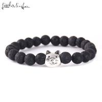 браслеты для кошек оптовых-Little MingLou Horse Dog Cat Charm Men Lava Healing Balance  Reiki Buddha Natural Stone Yoga Bracelets & Bangles For Women
