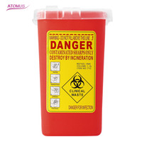Wholesale Sharps Tattoo - 1L Capacity Sharps Container Medical Needles Bin Biohazard Tattoo Piercing Needles Disposal Collect Box Tattoo Artist Waste Box