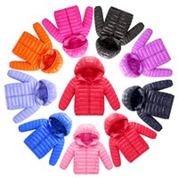 Wholesale boys outerwear coat resale online - Children Solid Candy Color Down Coat Winter kids frivolous jackets windproof Hooded Overcoat outerwear boys Girls colors AAA868