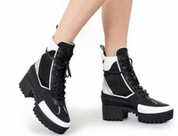 Wholesale womens genuine leather combat boots - 2018 2019 spring fall winter womens Multi-Color white black suede real leather with mesh lace up chunky Platform Rubber soles Combat boots