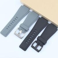 силиконовый резиновый браслет ремешок для часов черный оптовых-24MM High quality Rubber watchband For Bell silicone strap Replacement for Ross BR01 BR03 mens watch Bracelet Black Grey Logo on